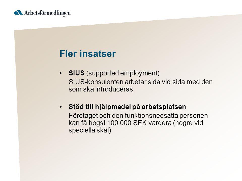 Fler insatser SIUS (supported employment) SIUS-konsulenten arbetar sida vid sida med den som ska introduceras. Stöd till hjälpmedel på arbetsplatsen F