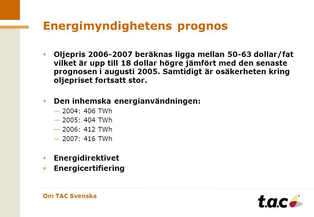 Om TAC Svenska Energimyndighetens prognos  Oljepris 2006-2007 beräknas ligga mellan 50-63 dollar/fat vilket är upp till 18 dollar högre jämfört med den senaste prognosen i augusti 2005.