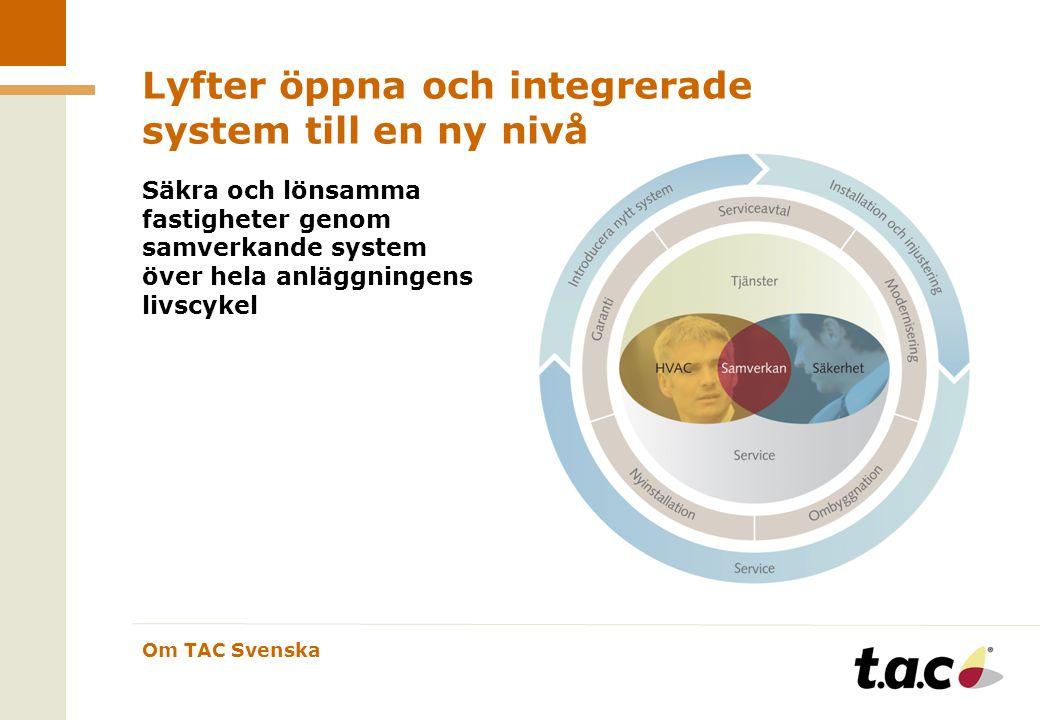 Om TAC Svenska Lyfter öppna och integrerade system till en ny nivå Säkra och lönsamma fastigheter genom samverkande system över hela anläggningens livscykel