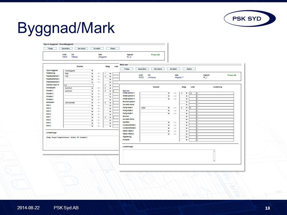 Byggnad/Mark 2014-08-22PSK Syd AB 13 Underhålls- planering Status Inventera utrustning i byggnad Inventera utrustning på mark
