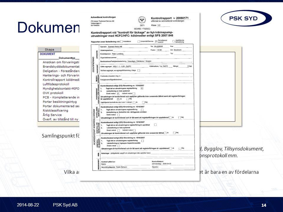 Dokument 2014-08-22PSK Syd AB 14 Samlingspunkt för dokument som relaterade till anläggningen. Godkända Förvaringstillstånd, Bygglov, Tillsynsdokument,