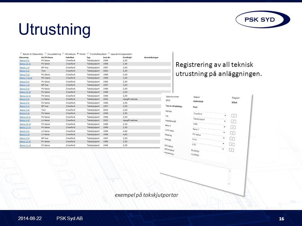 Utrustning 2014-08-22PSK Syd AB 16 Registrering av all teknisk utrustning på anläggningen.