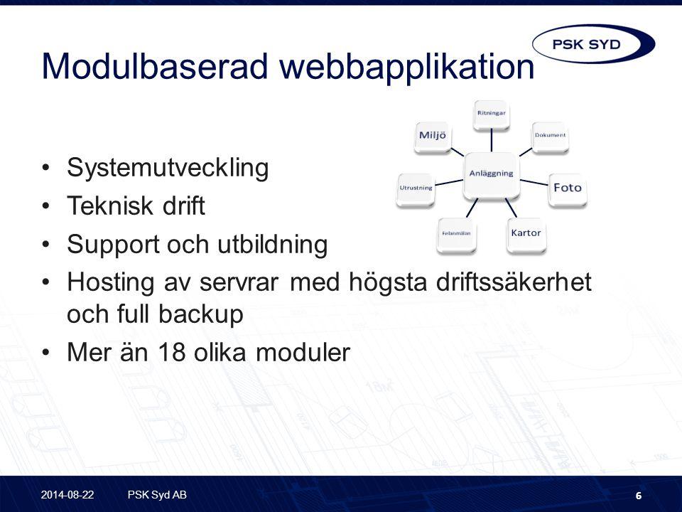 Modulbaserad webbapplikation Systemutveckling Teknisk drift Support och utbildning Hosting av servrar med högsta driftssäkerhet och full backup Mer än 18 olika moduler 2014-08-22PSK Syd AB 6