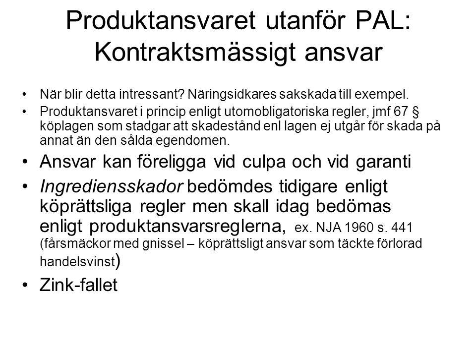 Produktansvaret utanför PAL: Kontraktsmässigt ansvar När blir detta intressant? Näringsidkares sakskada till exempel. Produktansvaret i princip enligt