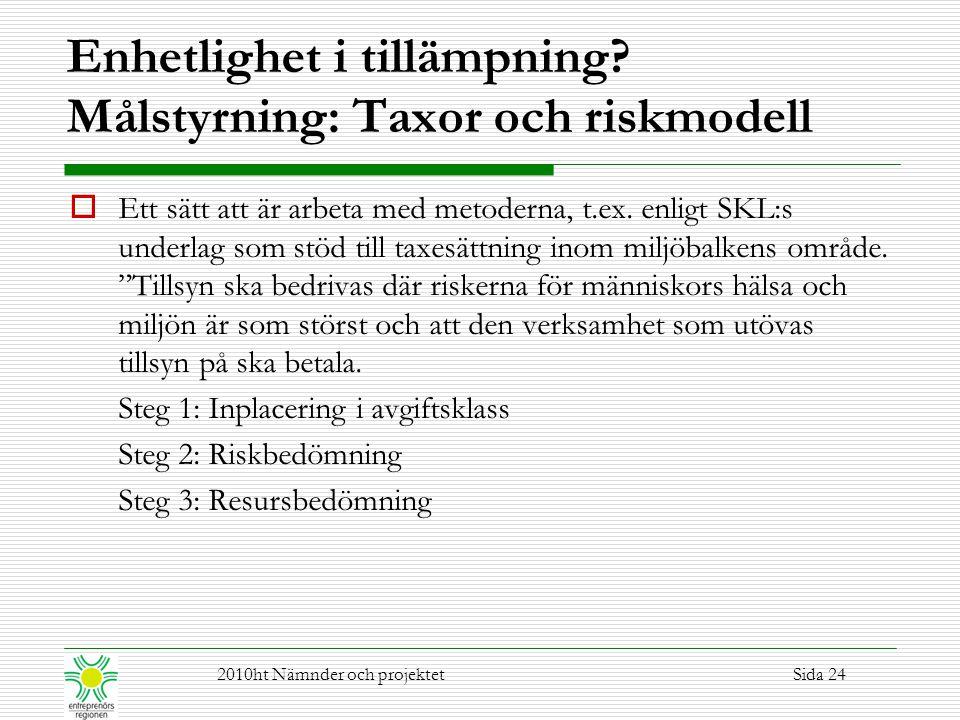 Enhetlighet i tillämpning? Målstyrning: Taxor och riskmodell  Ett sätt att är arbeta med metoderna, t.ex. enligt SKL:s underlag som stöd till taxesät