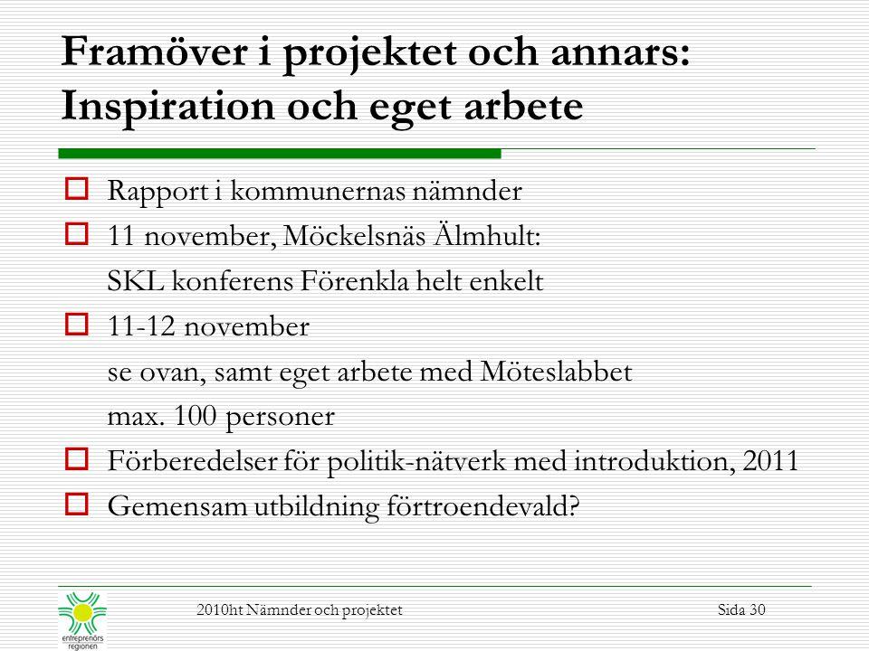 Framöver i projektet och annars: Inspiration och eget arbete  Rapport i kommunernas nämnder  11 november, Möckelsnäs Älmhult: SKL konferens Förenkla