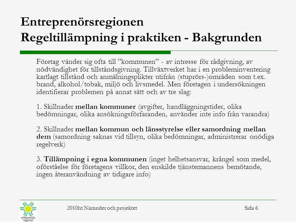 Regeltillämpning i praktiken – Hållplats nu 1.Alltmer av målstyrd lagstiftning 2.Kommunen är en politisk organisation 3.Företagen vill ha kompetens och diskussion www.entreprenorsregionen.sewww.entreprenorsregionen.se Regeltillämpning 2010ht Nämnder och projektetSida 7