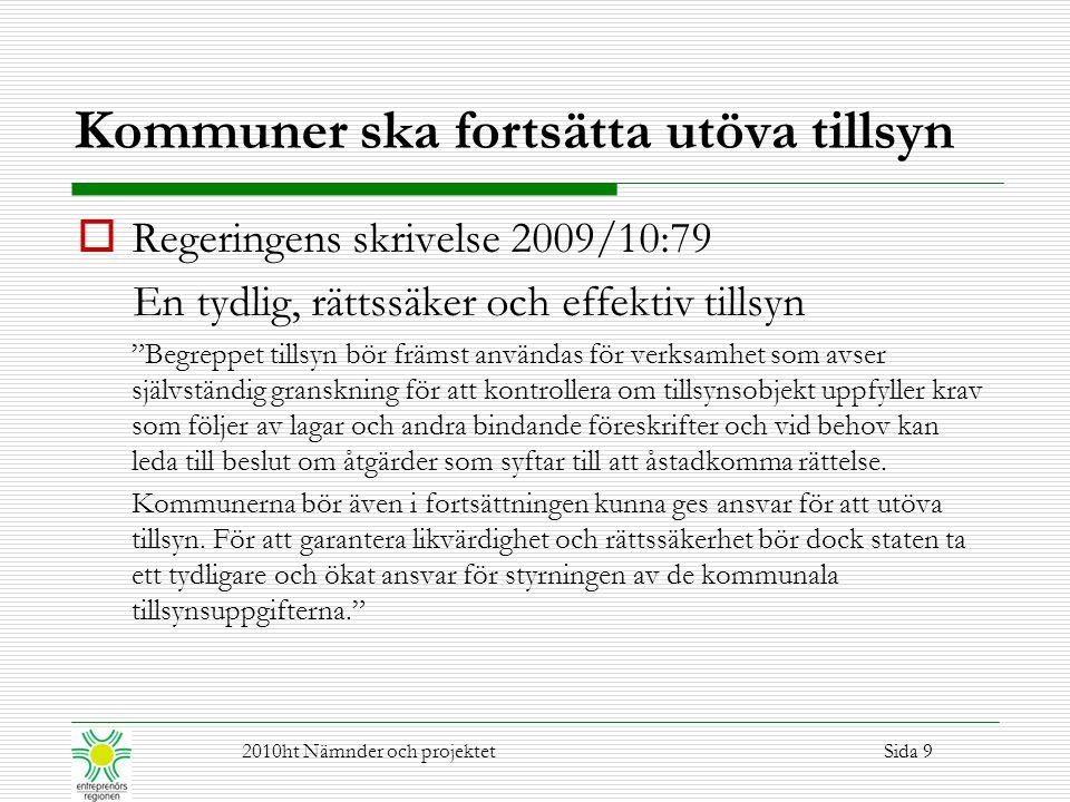 """Kommuner ska fortsätta utöva tillsyn  Regeringens skrivelse 2009/10:79 En tydlig, rättssäker och effektiv tillsyn """"Begreppet tillsyn bör främst använ"""