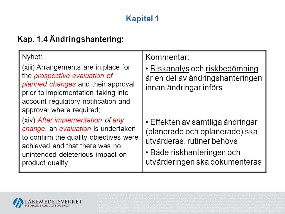 Kapitel 1 Kap. 1.4 Ändringshantering: Nyhet: (xiii) Arrangements are in place for the prospective evaluation of planned changes and their approval pri