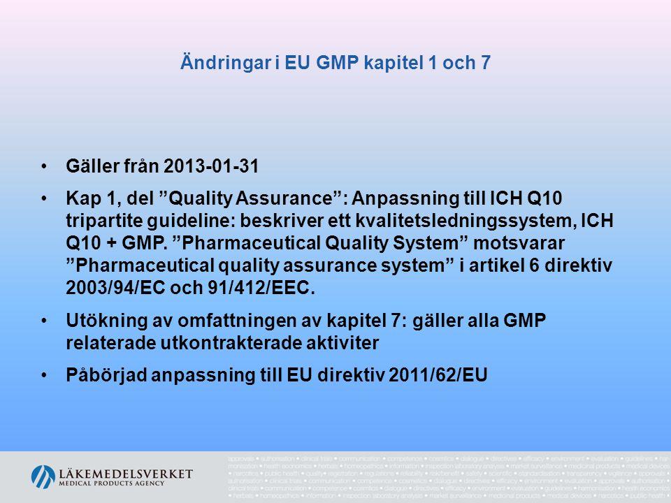 """Ändringar i EU GMP kapitel 1 och 7 Gäller från 2013-01-31 Kap 1, del """"Quality Assurance"""": Anpassning till ICH Q10 tripartite guideline: beskriver ett"""