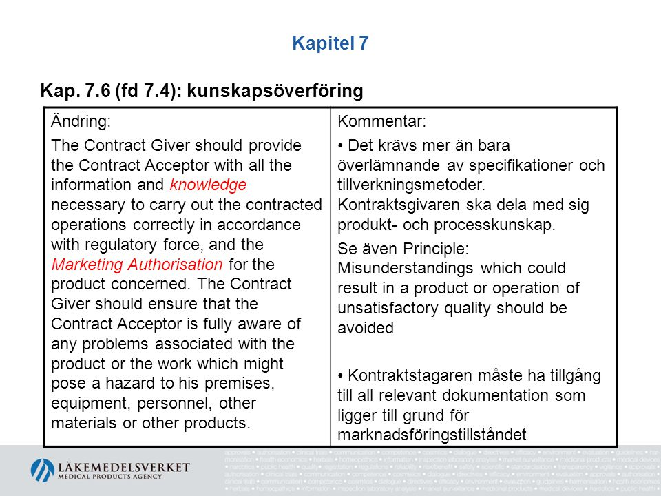 Kapitel 7 Kap. 7.6 (fd 7.4): kunskapsöverföring Ändring: The Contract Giver should provide the Contract Acceptor with all the information and knowledg