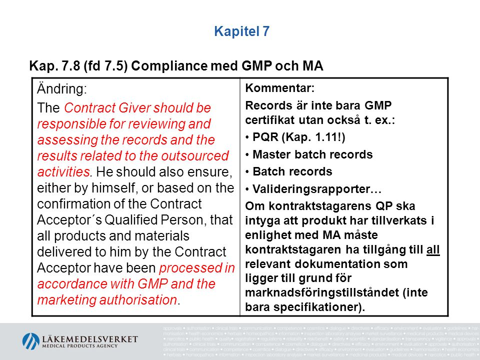 Kapitel 7 Kap. 7.8 (fd 7.5) Compliance med GMP och MA Ändring: The Contract Giver should be responsible for reviewing and assessing the records and th