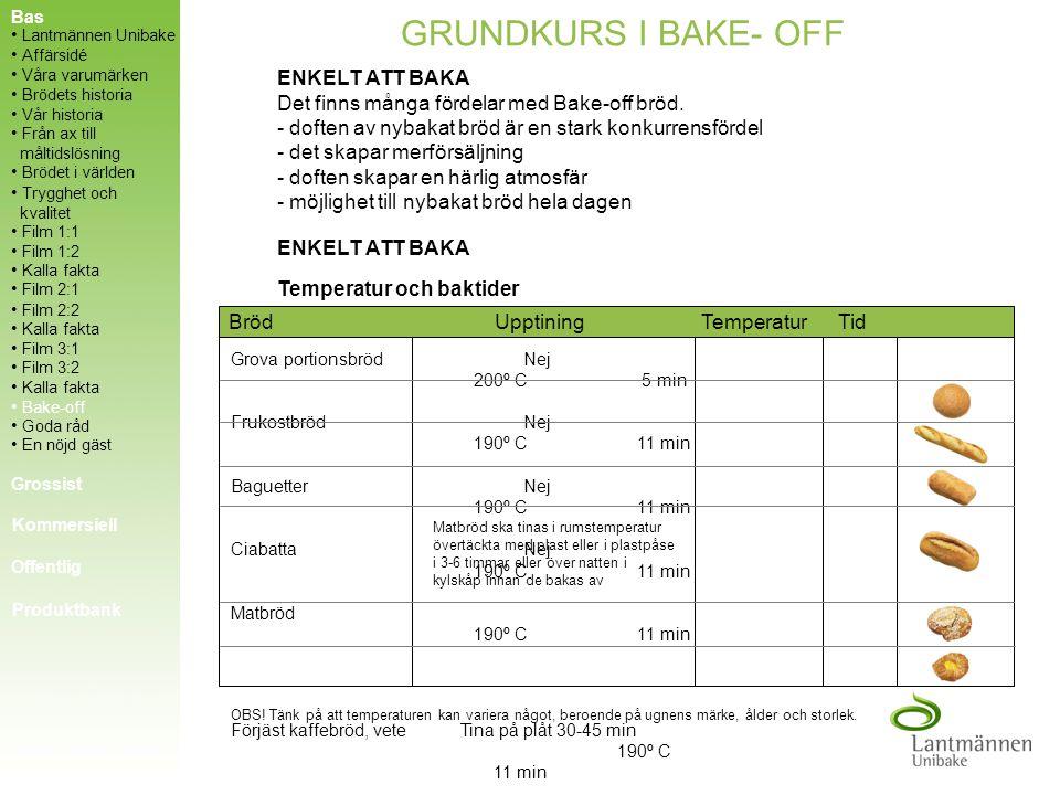 KALLA FAKTA UPPTININGSTIDER Plastpåse ca 4 timmar Kartong ca 6-8 timmar Hel pall ca 12-16 timmar HÅLLBARHET Förvara brödet i sluten plastförpackning F