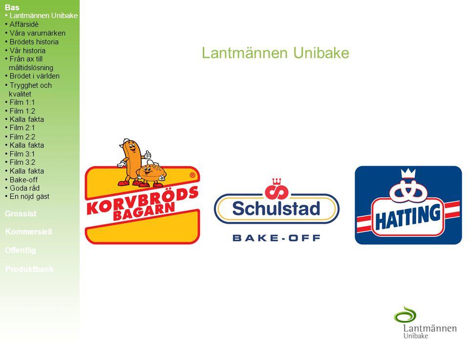 Lantmännen Unibake AB tillhör Lantmännen-koncernen som är en av norra Europas största livsmedelskoncerner. Affärsidé Våra varumärken Brödets historia