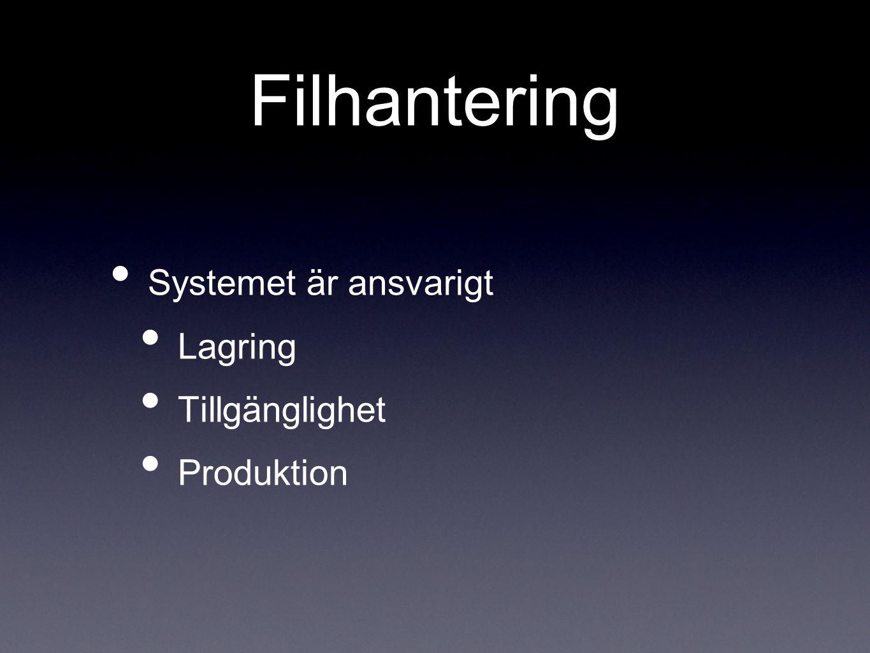 Filhantering Systemet är ansvarigt Lagring Tillgänglighet Produktion