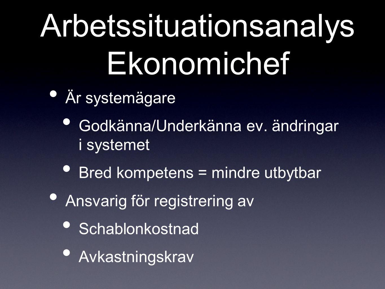 Arbetssituationsanalys Ekonomichef Är systemägare Godkänna/Underkänna ev.