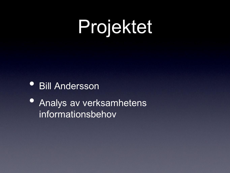Projektet Bill Andersson Analys av verksamhetens informationsbehov