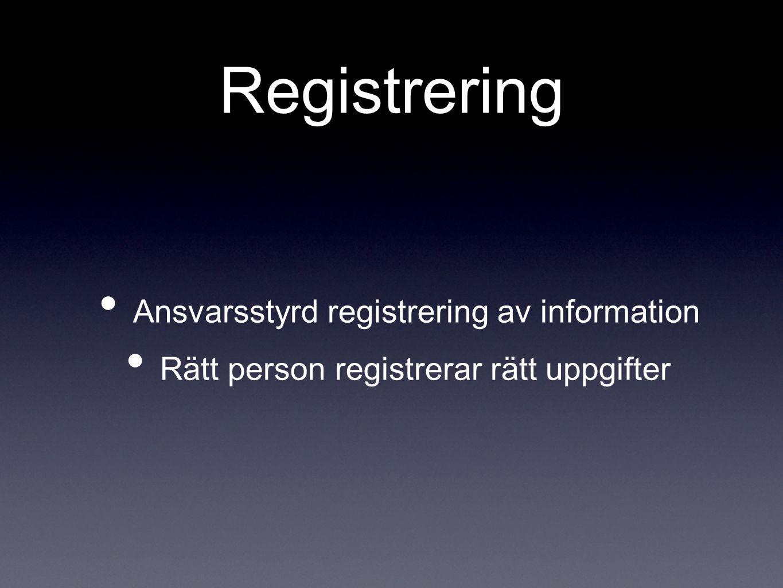 Registrering Ansvarsstyrd registrering av information Rätt person registrerar rätt uppgifter