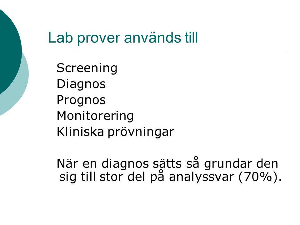 Lab prover används till Screening Diagnos Prognos Monitorering Kliniska prövningar När en diagnos sätts så grundar den sig till stor del på analyssvar