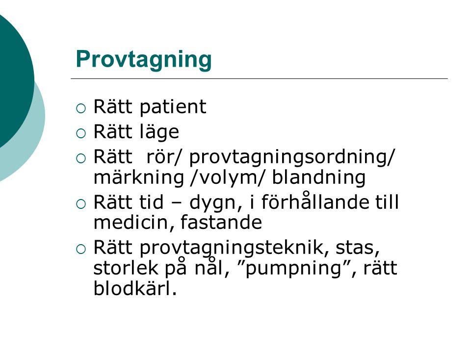 Provtagning  Rätt patient  Rätt läge  Rätt rör/ provtagningsordning/ märkning /volym/ blandning  Rätt tid – dygn, i förhållande till medicin, fast