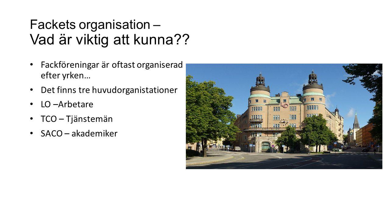 Fackets organisation – Vad är viktig att kunna?? Fackföreningar är oftast organiserad efter yrken… Det finns tre huvudorganistationer LO –Arbetare TCO