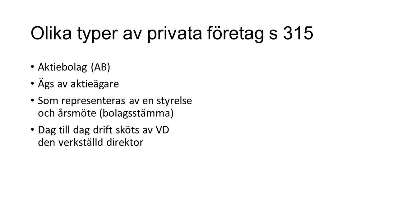 Olika typer av privata företag s 315 Aktiebolag (AB) Ägs av aktieägare Som representeras av en styrelse och årsmöte (bolagsstämma) Dag till dag drift