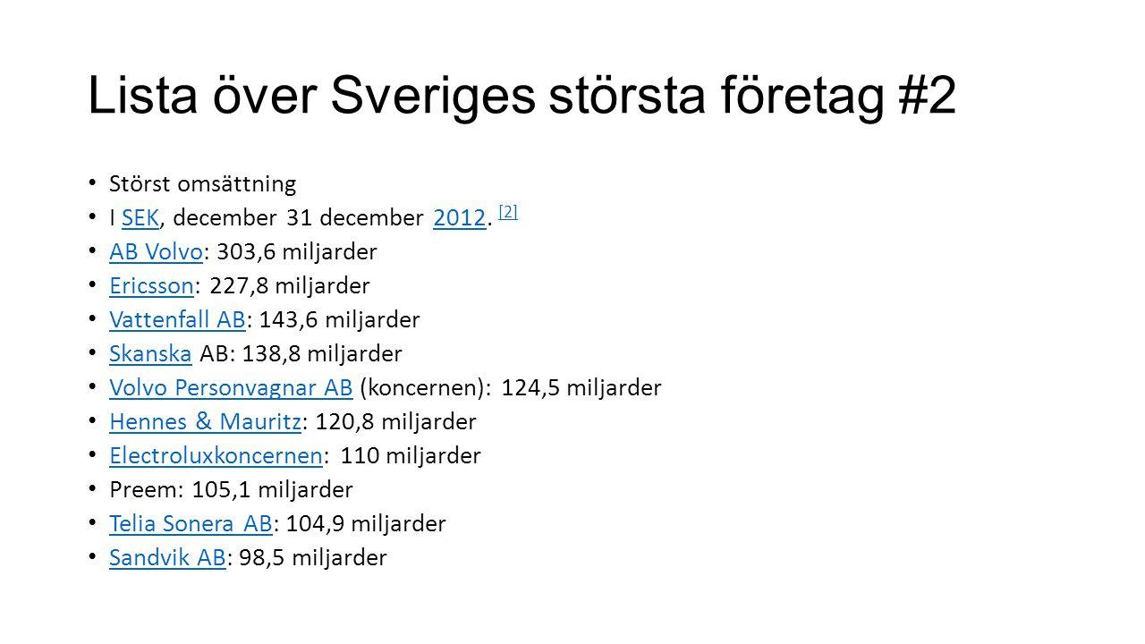 Lista över Sveriges största företag #2 Störst omsättning I SEK, december 31 december 2012. [2]SEK2012 [2] AB Volvo: 303,6 miljarder AB Volvo Ericsson: