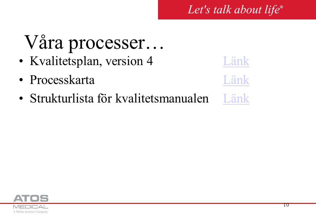 10 Våra processer… Kvalitetsplan, version 4LänkLänk ProcesskartaLänkLänk Strukturlista för kvalitetsmanualenLänkLänk