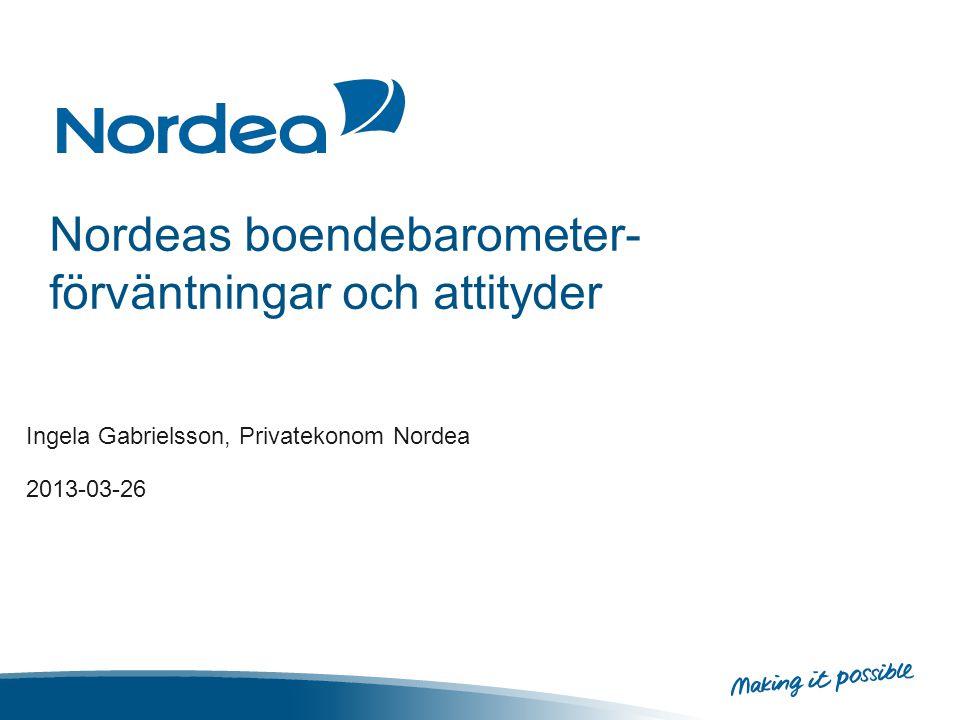 Nordeas boendebarometer- förväntningar och attityder Ingela Gabrielsson, Privatekonom Nordea 2013-03-26