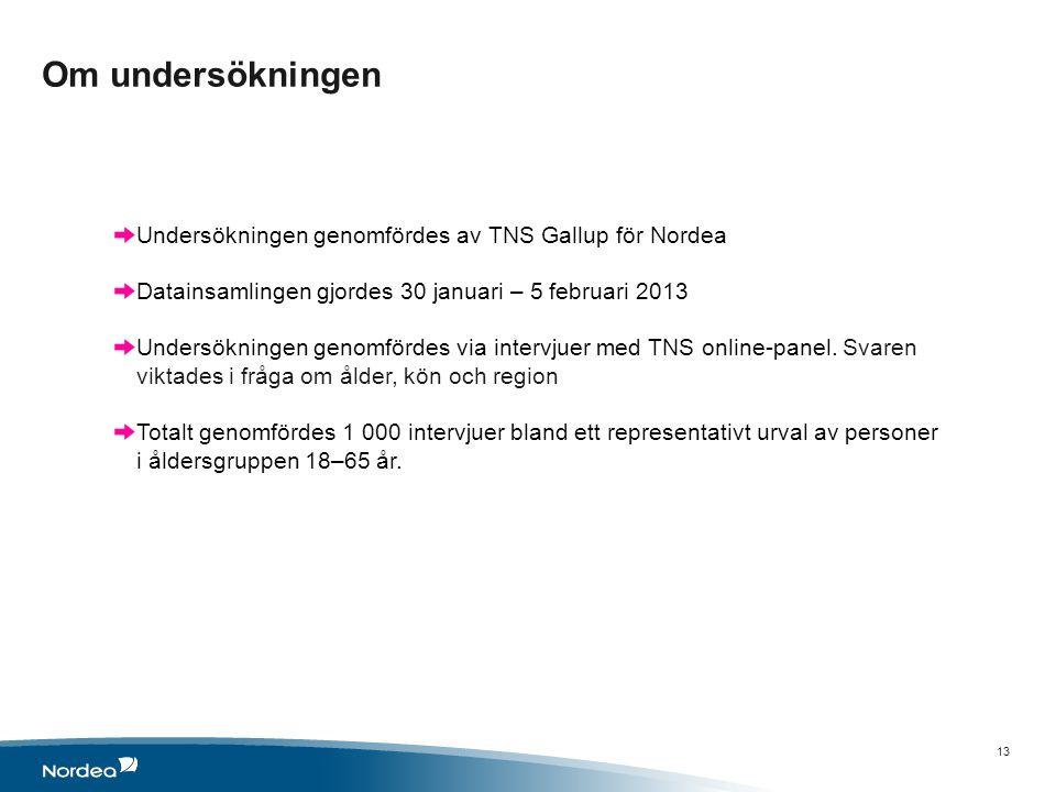 Om undersökningen 13 Undersökningen genomfördes av TNS Gallup för Nordea Datainsamlingen gjordes 30 januari – 5 februari 2013 Undersökningen genomfördes via intervjuer med TNS online-panel.