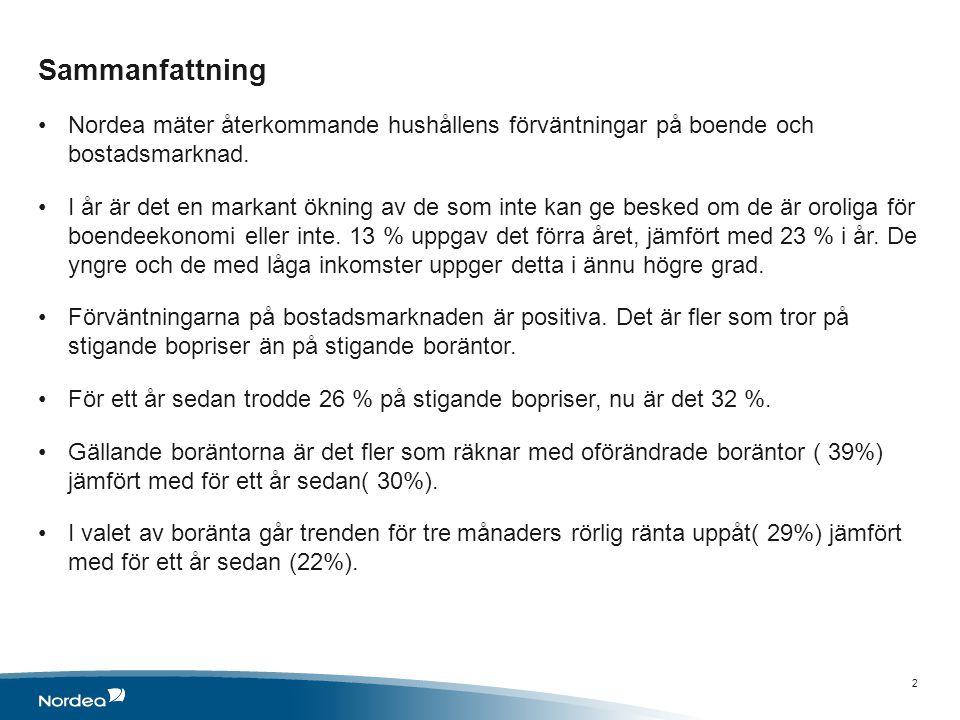 Sammanfattning Nordea mäter återkommande hushållens förväntningar på boende och bostadsmarknad.