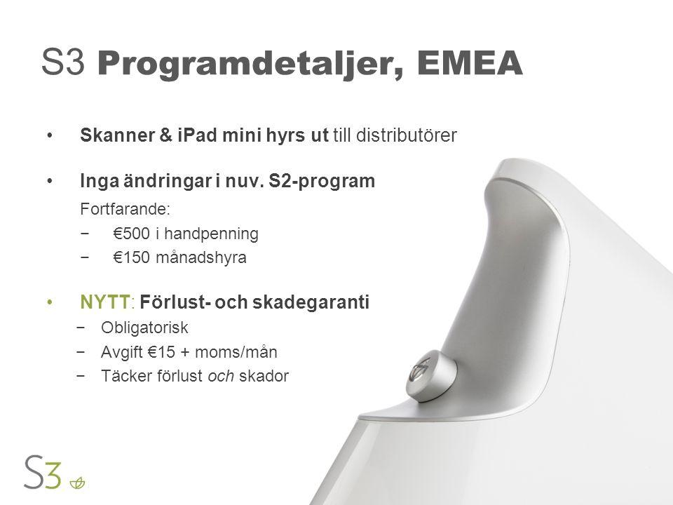 S3 Programdetaljer, EMEA Skanner & iPad mini hyrs ut till distributörer Inga ändringar i nuv.