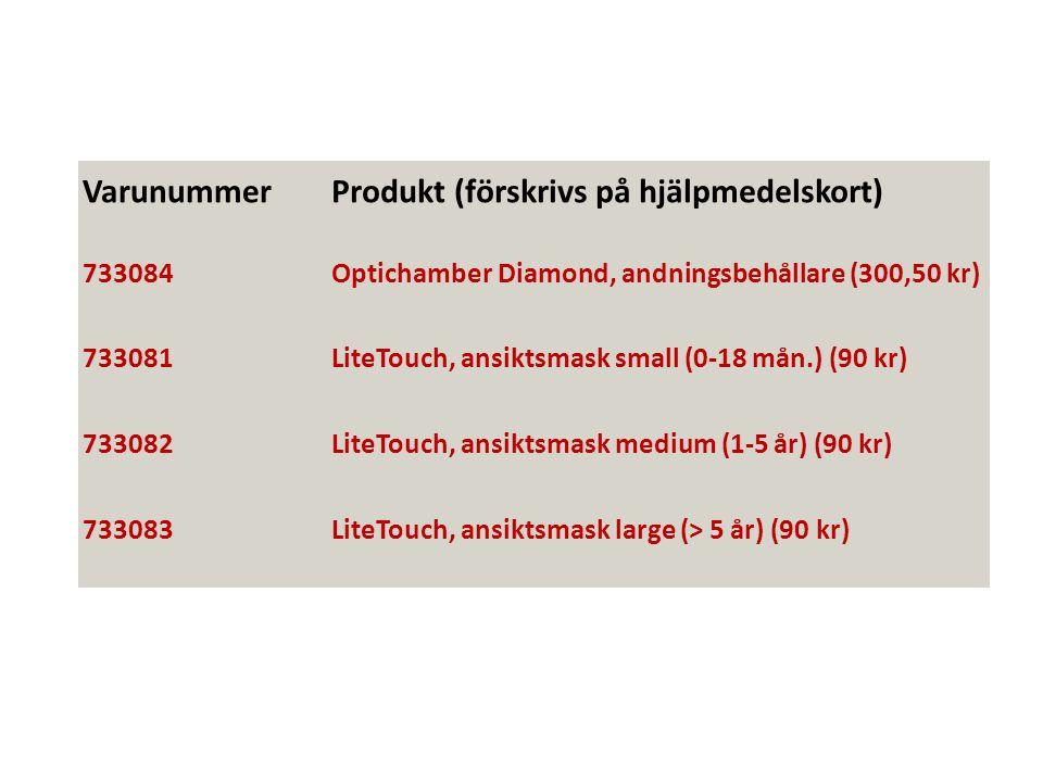 VarunummerProdukt (förskrivs på hjälpmedelskort) 733084Optichamber Diamond, andningsbehållare (300,50 kr) 733081LiteTouch, ansiktsmask small (0-18 mån.) (90 kr) 733082LiteTouch, ansiktsmask medium (1-5 år) (90 kr) 733083LiteTouch, ansiktsmask large (> 5 år) (90 kr)