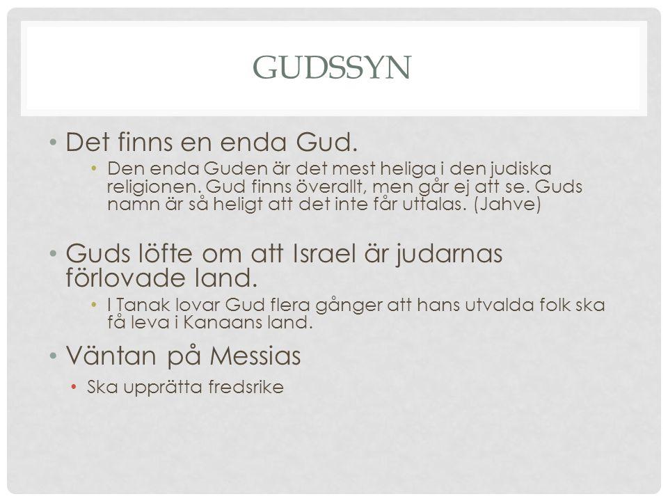 GUDSSYN Det finns en enda Gud. Den enda Guden är det mest heliga i den judiska religionen. Gud finns överallt, men går ej att se. Guds namn är så heli