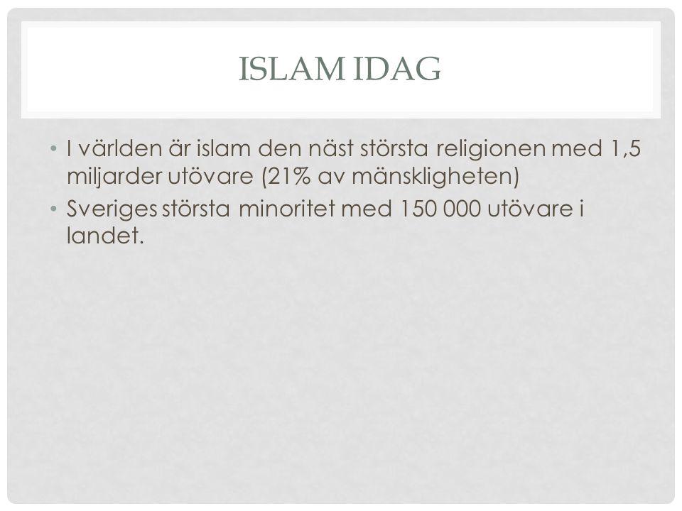 ISLAM IDAG I världen är islam den näst största religionen med 1,5 miljarder utövare (21% av mänskligheten) Sveriges största minoritet med 150 000 utöv