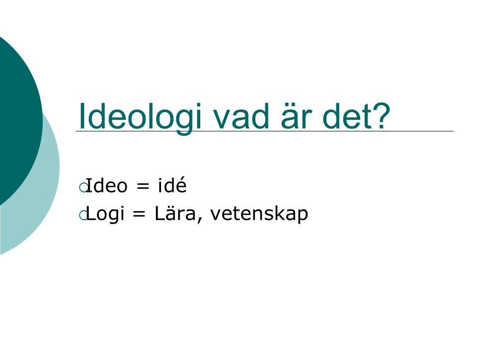 Ideologi vad är det?  Ideo = idé  Logi = Lära, vetenskap