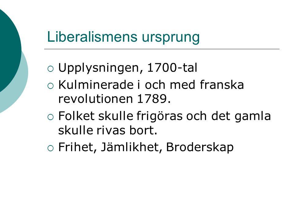 Liberalismens ursprung  Upplysningen, 1700-tal  Kulminerade i och med franska revolutionen 1789.  Folket skulle frigöras och det gamla skulle rivas