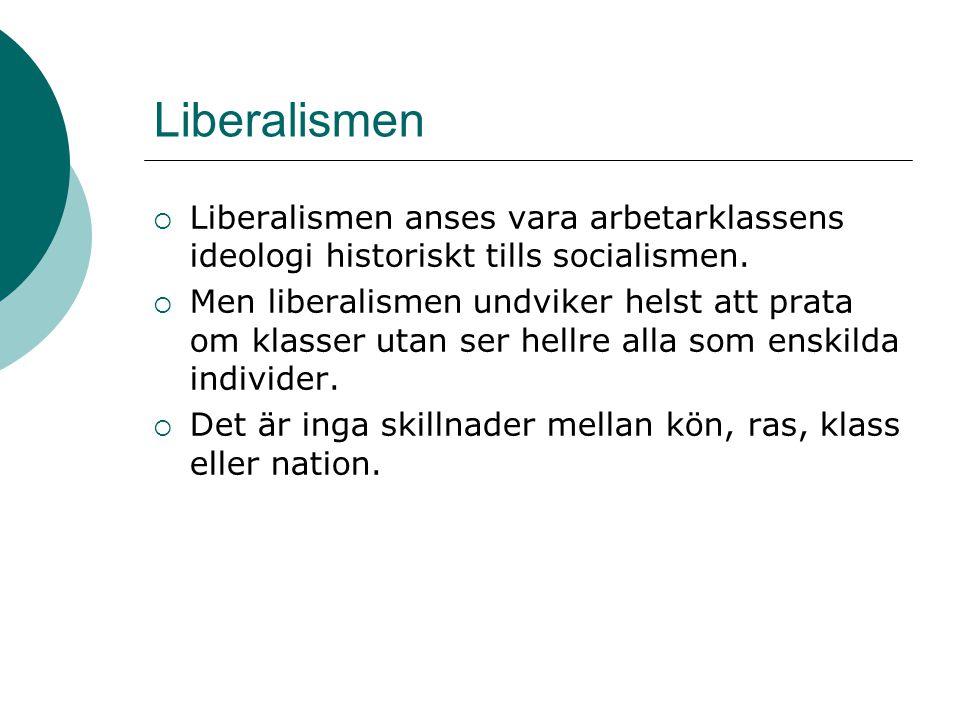 Liberalismen  Liberalismen anses vara arbetarklassens ideologi historiskt tills socialismen.  Men liberalismen undviker helst att prata om klasser u