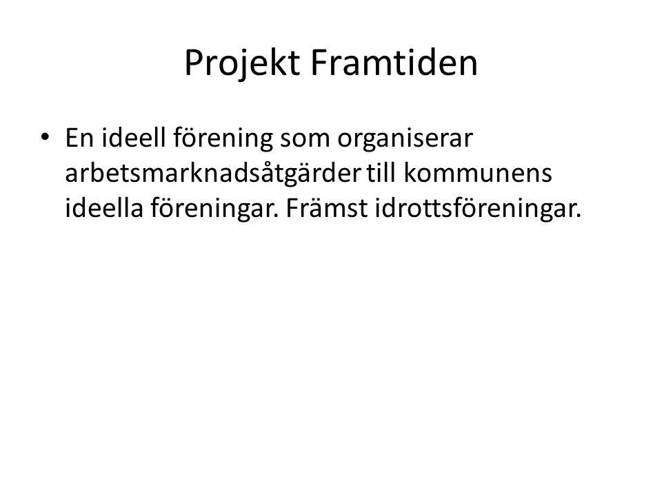 Projekt Framtiden En ideell förening som organiserar arbetsmarknadsåtgärder till kommunens ideella föreningar.