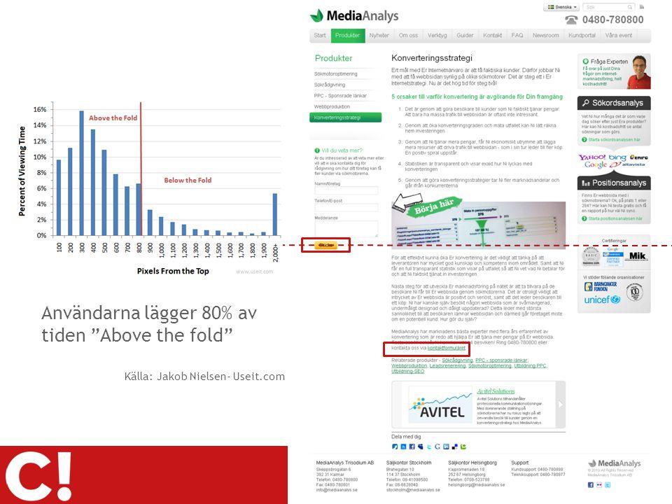 """2010-08-19 Page 25 Användarna lägger 80% av tiden """"Above the fold"""" Källa: Jakob Nielsen- Useit.com"""