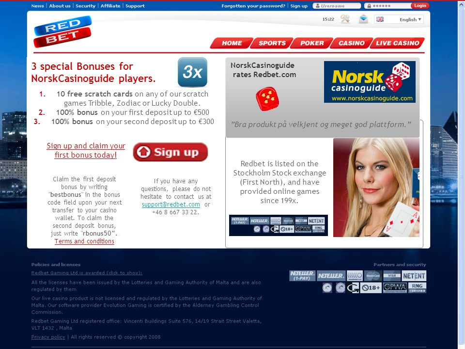 2010-08-19 Page 32 NorskCasinoguide rates Redbet.com Bra produkt på velkjent og meget god plattform. Redbet is listed on the Stockholm Stock exchange (First North), and have provided online games since 199x.