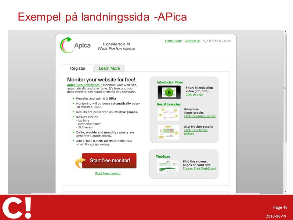 2010-08-19 Page 48 Exempel på landningssida -APica