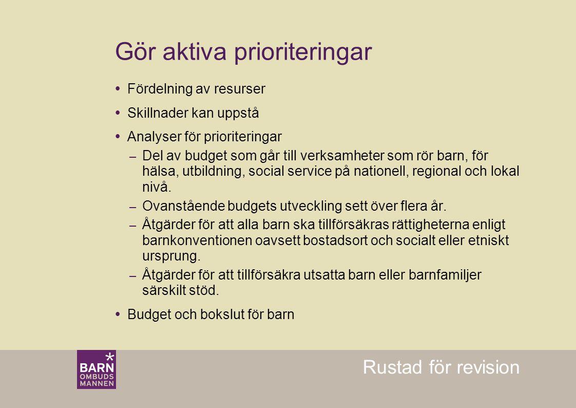 Rustad för revision  Fördelning av resurser  Skillnader kan uppstå  Analyser för prioriteringar – Del av budget som går till verksamheter som rör b