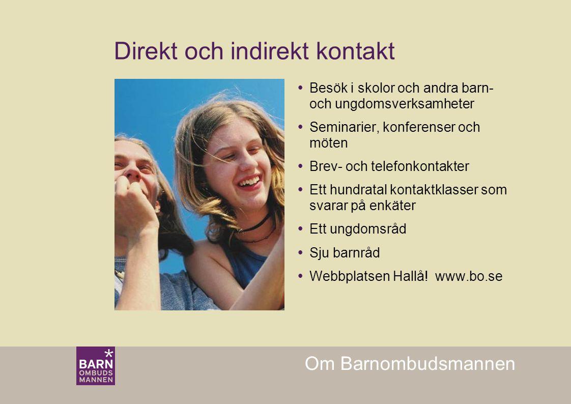 Om Barnombudsmannen Direkt och indirekt kontakt  Besök i skolor och andra barn- och ungdomsverksamheter  Seminarier, konferenser och möten  Brev- o
