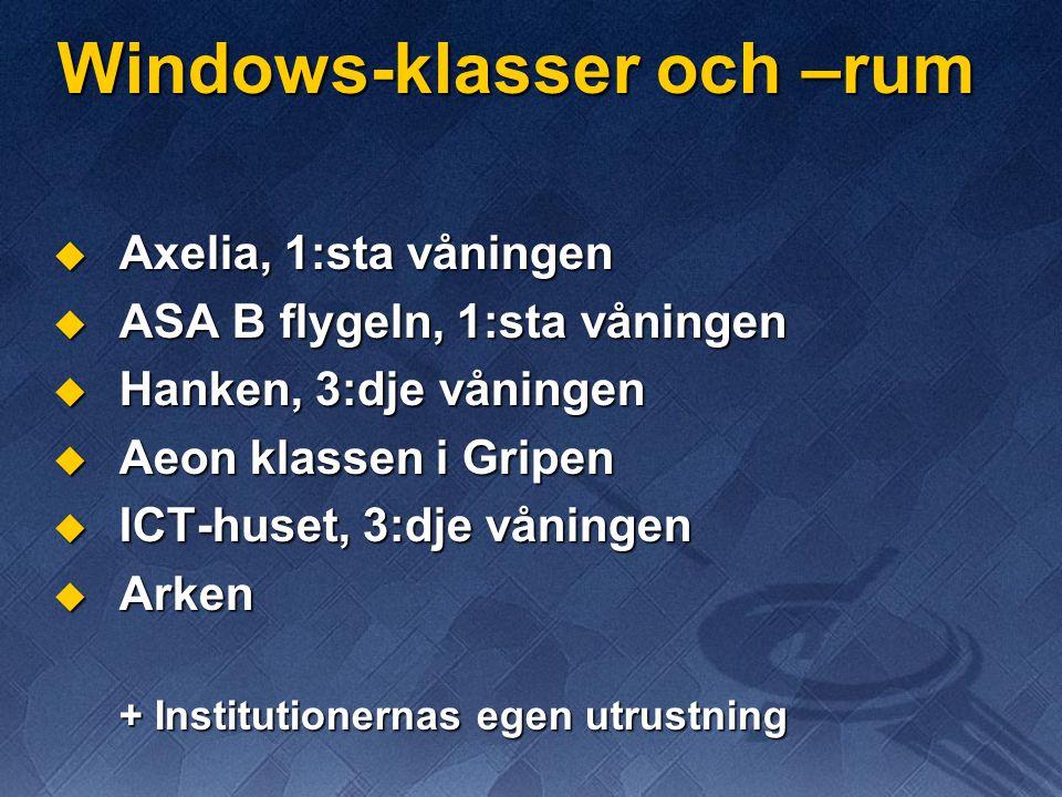 Windows-klasser och –rum  Axelia, 1:sta våningen  ASA B flygeln, 1:sta våningen  Hanken, 3:dje våningen  Aeon klassen i Gripen  ICT-huset, 3:dje våningen  Arken + Institutionernas egen utrustning