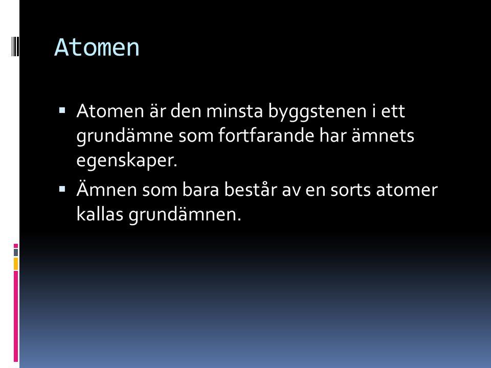 Atomen  Atomen är den minsta byggstenen i ett grundämne som fortfarande har ämnets egenskaper.  Ämnen som bara består av en sorts atomer kallas grun