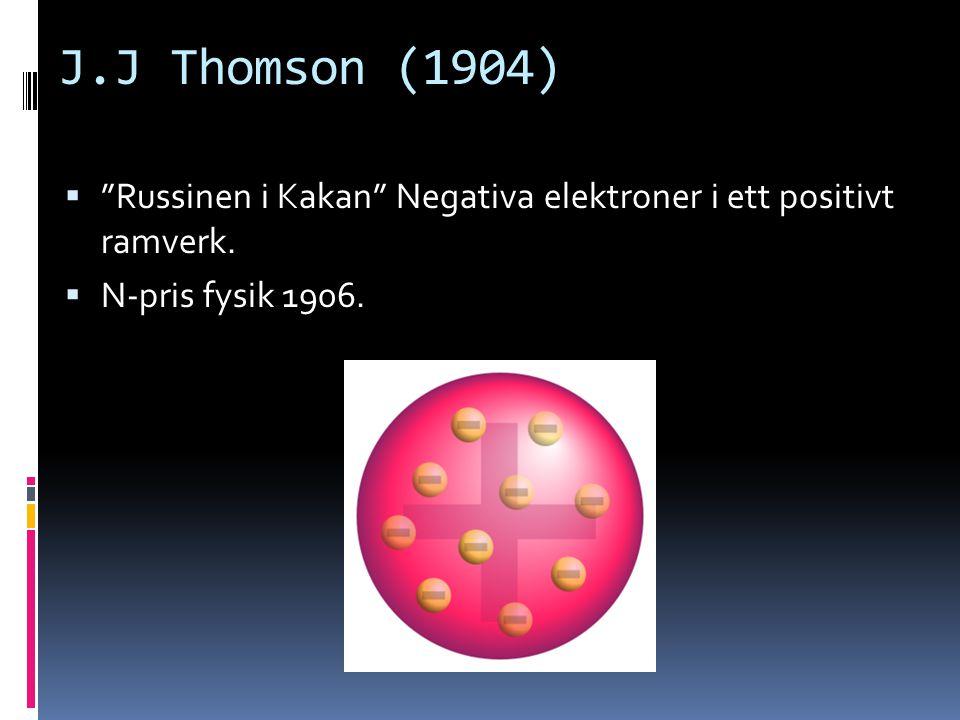 """J.J Thomson (1904)  """"Russinen i Kakan"""" Negativa elektroner i ett positivt ramverk.  N-pris fysik 1906."""