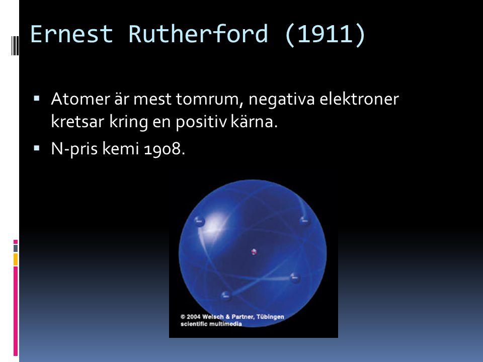 Ernest Rutherford (1911)  Atomer är mest tomrum, negativa elektroner kretsar kring en positiv kärna.  N-pris kemi 1908.