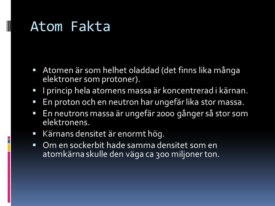 Atom Fakta  Atomen är som helhet oladdad (det finns lika många elektroner som protoner).  I princip hela atomens massa är koncentrerad i kärnan.  E