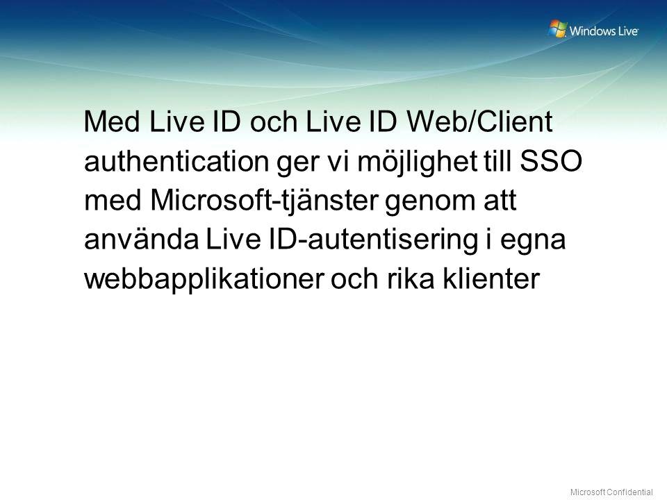 Microsoft Confidential Med Live ID och Live ID Web/Client authentication ger vi möjlighet till SSO med Microsoft-tjänster genom att använda Live ID-autentisering i egna webbapplikationer och rika klienter